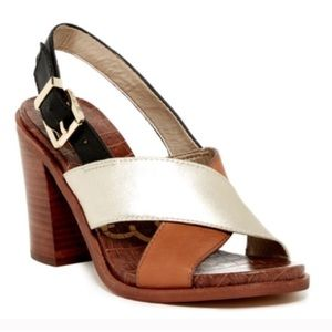 Sam Edelman Leather Block Heeled Sandals Multi